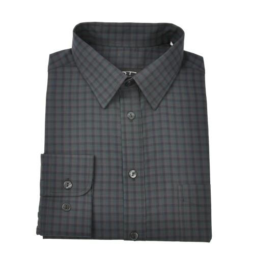 Medvilniniai vyriški marškiniai smulkiais langeliais NORVISCH, žalia/pilka//juoda spalvos