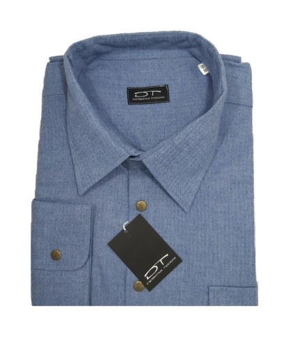 Melsvos spalvos su nedidele eglutės struktūra vyriški marškiniai Montana Nr.92