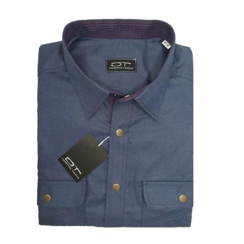 Vyriški marškiniai Oliveris (melsvas) tamsaus plieno atspalvis