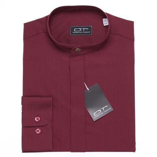 Bordo spalvos vyriški marškiniai MAROON su stove arba klasikine apykakle