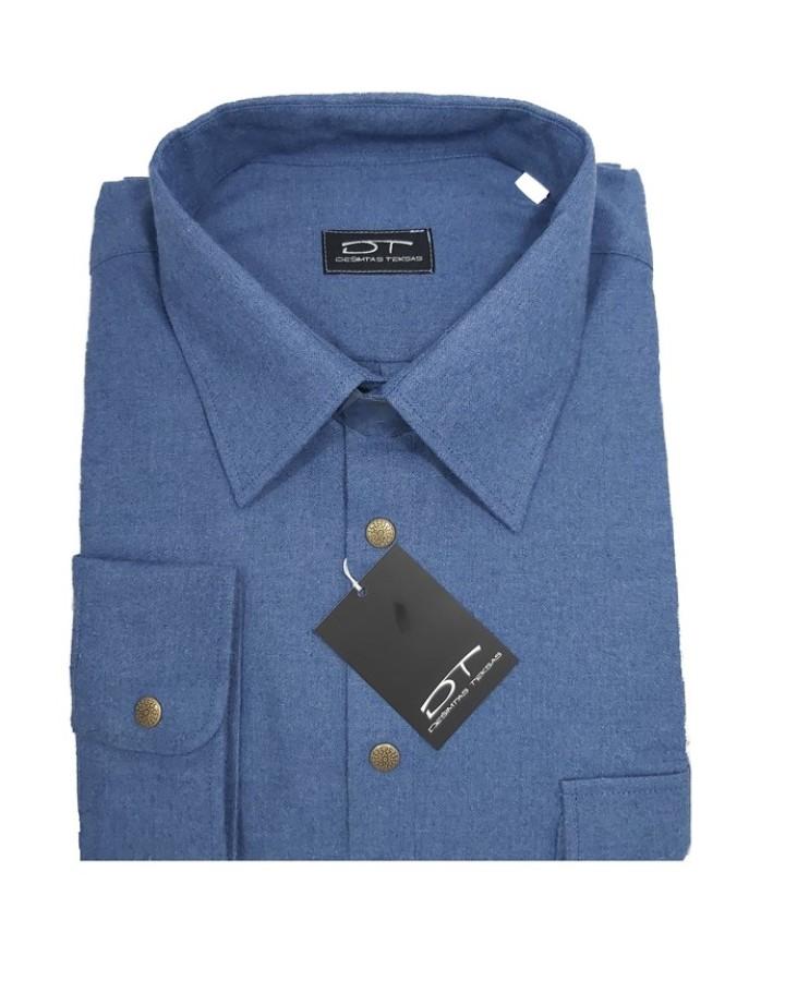 Tamsesnio melsvo tono spalvos vyriški marškiniai Montana Nr.93