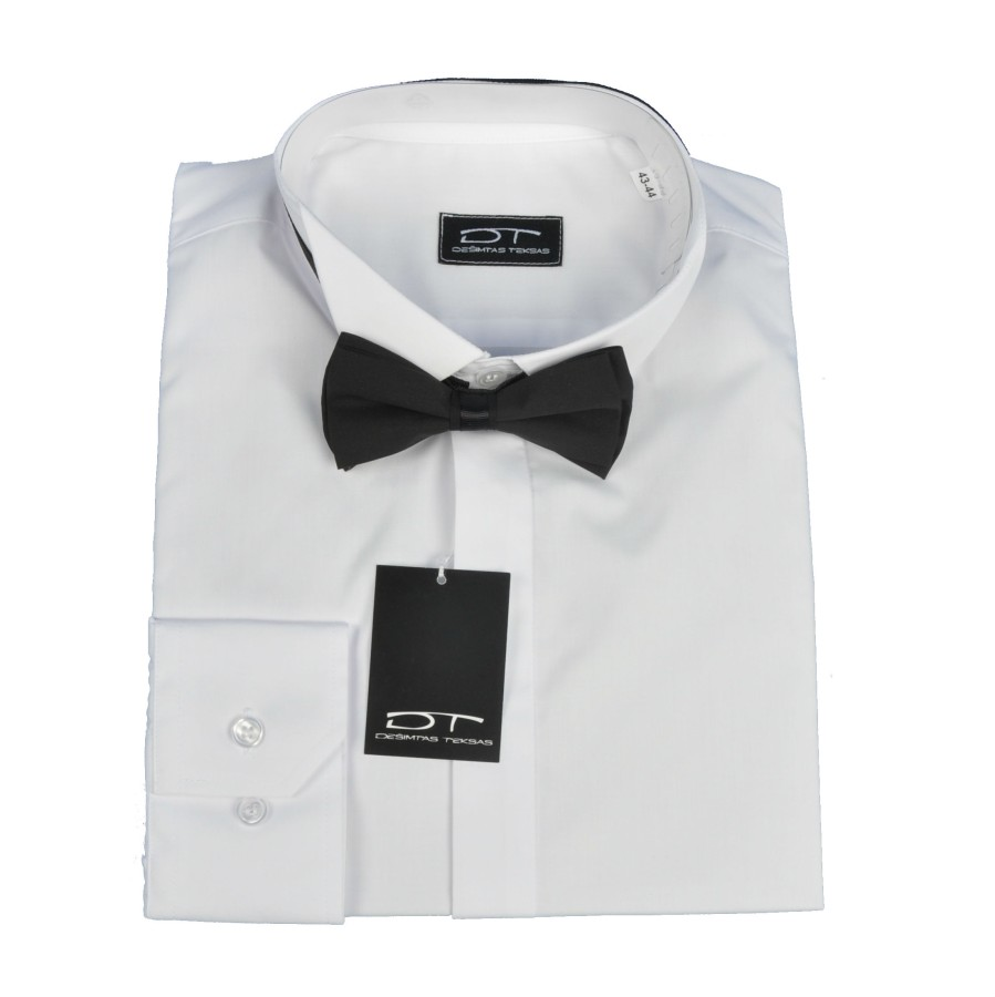 White  dress shirt with tuxedo collar and black bow tie